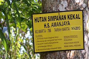 A signboard indicating the establishment date of Amanjaya Forest Reserve