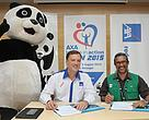 Present at the signing ceremony from left to right: Chi Chi, WWF-Malaysia's mascot, Emmanuel Nivet, Chief Executive Officer of AXA Affin GI and Dato' Dr. Dionysius Sharma, Executive Director/CEO of WWF-Malaysia.