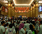 Some of the hundreds of excited Earth Hour 2015 Night Walk participants gathered under the Lion Head at Sunway Pyramid shortly before the countdown to Earth Hour, from 8:30pm to 9:30pm on 28 March 2015