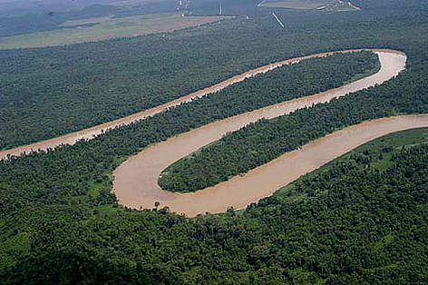 Aerial view of the Kinabatangan River,Sabah rel=