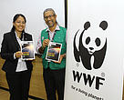WWF-Malaysia Executive Director/Chief Executive Officer Dato' Dr Dionysius S.K. Sharma and Head of Peninsular Malaysia Conservation Programme, Puan Norizan Mazlan posing with the Living Planet Report 2016.