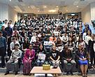 (Front row, second to fourth from left) Lecturer and Project Leader Ms Umi Kalsom, WWF-Malaysia Brand Activation Senior Manager Ms Suan Tan, INTI International University in Malaysia Vice-Chancellor Professor Dato' Dr Rahmah Mohamed, with university staff as well as the students and lecturers of INTI International University MGT 1210 Fundamentals of Business Management Course.