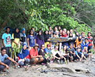 Mangrove planting activity with volunteers.