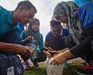 Participants of Kolej Komuniti Tambunan in Tambunan, Sabah completing a task for the WaterQuest activity. Photo courtesy of Photo credit: