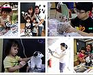 Paper mache panda workshop participants in action.