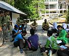 Rangers shared their experience in managing and protecting various Parks, Reserves, and Wildlife Sanctuaries with a group of students during the 'Get to Know the Rangers' activity.